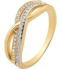 anel transpassado cravejado com cristais zircônias com detalhe em ródio branco banhado a ouro 18k