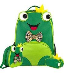 kit infantil mochila escolar mumagi + lancheira e estojo sapinho masculino