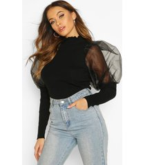 high frill neck sweater with organza puff sleeve, black