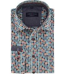casa moda overhemd casual fit donkerblauw oranje