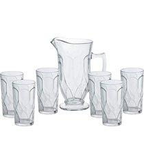 conjunto de 6 copos de 270ml e jarra de 1l de vidro black