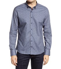 stone rose music print button-down shirt, size 7 in denim blue at nordstrom