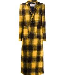 la doublej checked duster coat - yellow