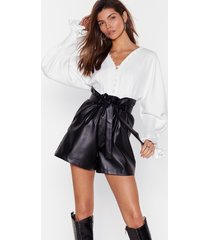 faux leather break your heart paperbag shorts