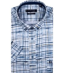 korte mouwen overhemd navy geruit giordano