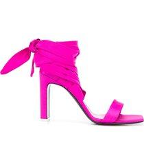 the attico wraparound ankle tie sandals - pink