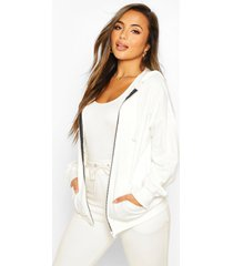 petite zip up basic hoodie, ivory