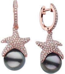 effy cultured black tahitian pearl (9-1/2mm) & diamond (3/4 ct. t.w.) starfish dangle drop earrings in 14k rose gold
