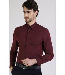 camisa masculina comfort com bolso manga longa vinho