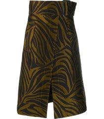 3.1 phillip lim zebra print belted skirt - brown