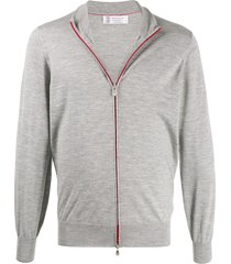 brunello cucinelli zip-up mock neck cardigan - grey