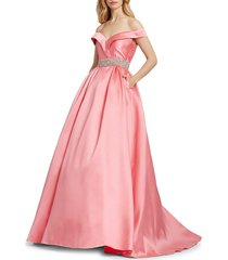 mac duggal women's off-the-shoulder satin gown - coral - size 8