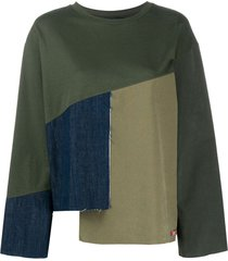 mr & mrs italy contrast panel frayed edge blouse - green