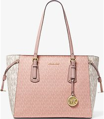 mk borsa tote voyager media con logo color block - ballet multi - michael kors