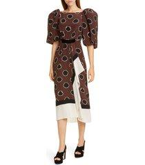women's johanna ortiz full sleeve silk crepe de chine midi dress