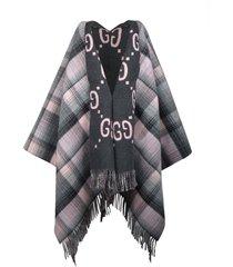gucci reversible wool poncho gg