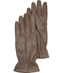 forzieri designer women's gloves, taupe leather women's gloves w/wool lining
