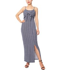 planet gold juniors' tie-front smocked-back maxi dress