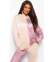 bandana colour block hoodie met tekst, mink