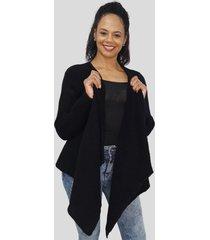 casaco com manta tomasini tricot outono/inverno 2020 preto