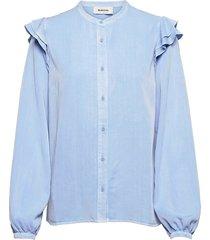 henry shirt blouse lange mouwen blauw modström