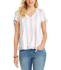 style & co striped ruffled-hem tie-sleeve top, created for macy's