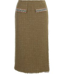 blumarine boucle pencil midi skirt