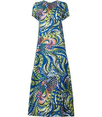 la doublej long length patterned swing dress - blue