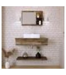 conjunto para banheiro bancada com cuba aria 41 retangular, prateleira e espelheira city 806 carvalho dark