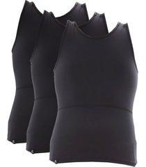 kit com 03 cintas modeladora e postural alta compressão bodyshaper - slim fitness preto