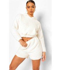 nepwollen sweatshirt jurk met hoge kraag, ivory