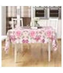 toalha de mesa rosa estampada floral quadrada 1,40m x 1,40m tecido jacquard
