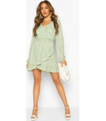 ditsy floral long sleeve tea dress, green