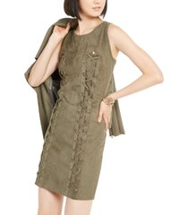 inc lace-up faux-suede dress, created for macy's