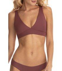 women's maaji crimson circus allure 4-way reversible bikini top, size large - brown