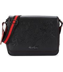 robert graham men's mirandola embossed dragon messenger bag - black