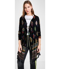geometric print knit cardigan - black - m