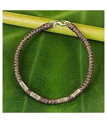 silver accent wristband bracelet, 'simply happy in taupe' (thailand)