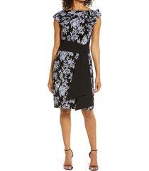 women's tadashi shoji floral jacquard cap sleeve dress, size 16 - black