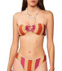 suboo women's jacquelyn ring bandeau bikini top - gold multicolor - size xs