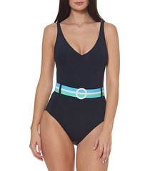 belted plunging mio one-piece swimsuit