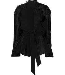mugler asymmetric tie-waist poplin shirt - black