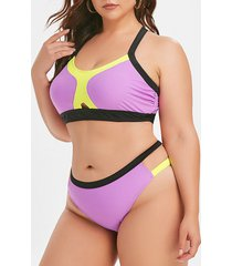 plus size colorblock cutout bikini swimsuit