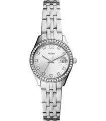 fossil women's micro scarlette silver-tone bracelet watch 28mm