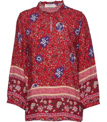 adajecr blouse blus långärmad röd cream