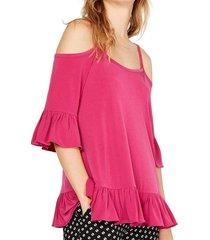 blouse cold shoulder ruffle