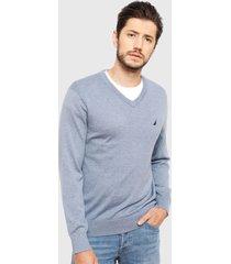 sweater nautica cuello v azul - calce regular