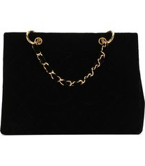 chanel pre-owned textured double chain tote - black