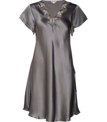 pure silk - nightgown w.lace, short nachthemd negligé groen lady avenue