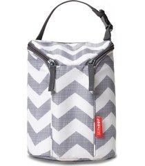 bolsa térmica double bottle skip hop - linha on-the-go - espaço para duas mamadeiras - estampa chevron